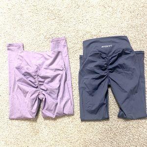 ECHT Apparel leggings in Lavender and Steele Blue